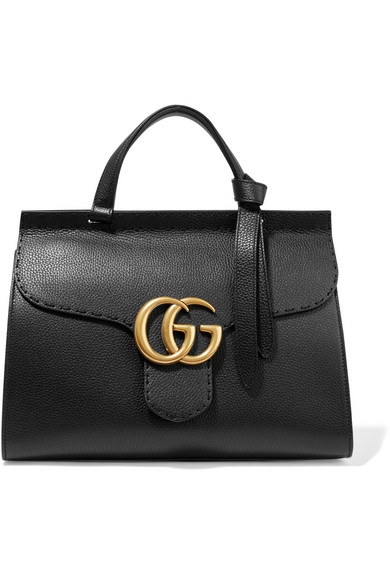 Gucci - Gg Marmont Small Textured-leather Tote - Black