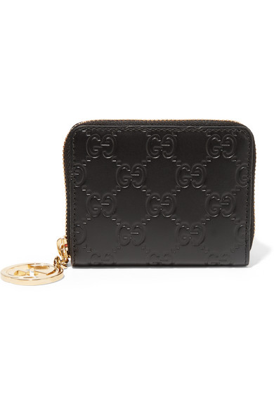 gucci female gucci icon embossed leather wallet black