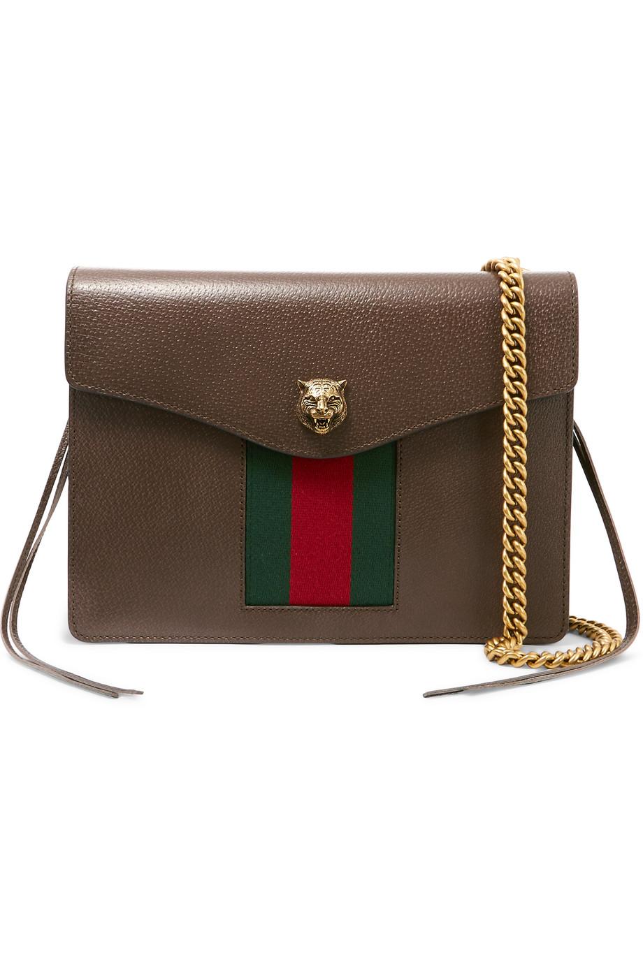 Gucci Animalier Tasseled Textured-Leather Shoulder Bag, Brown, Women's