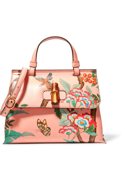 Gucci - Bamboo Daily Printed Textured-leather Shoulder Bag - Peach