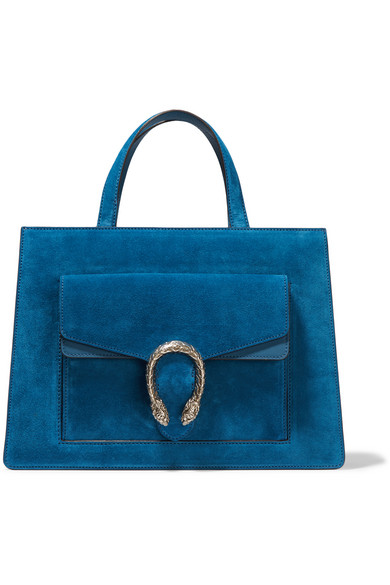 Gucci - Dionysus Medium Leather-trimmed Suede Tote - Blue