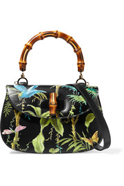Bamboo Classic printed textured-leather shoulder bag