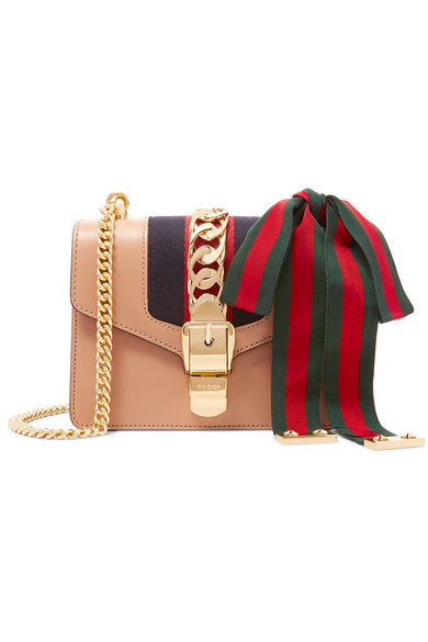 Gucci - Sylvie Mini Chain-trimmed Leather And Canvas Shoulder Bag - Beige