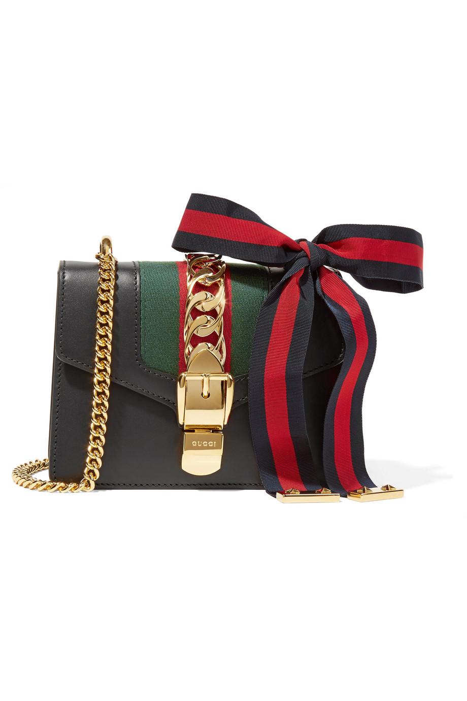 Gucci Sylvie Mini Canvas-Paneled Leather Shoulder Bag