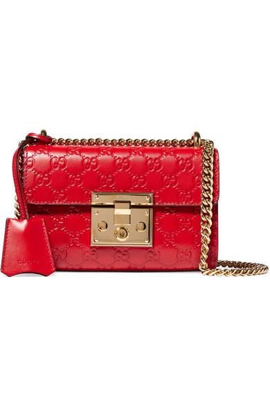 Gucci - Padlock Embossed Leather Shoulder Bag - Red