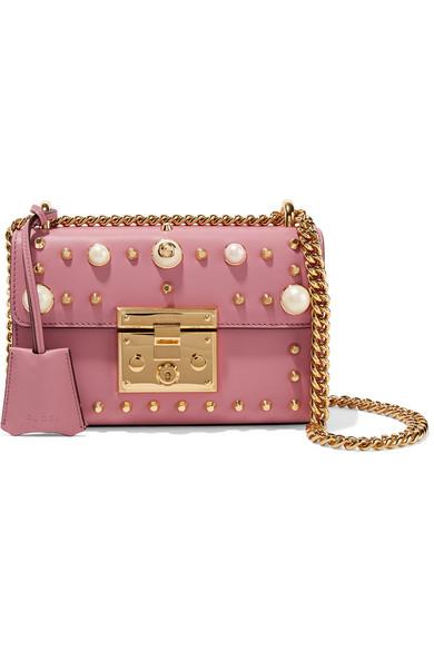 Gucci - Padlock Mini Embellished Leather Shoulder Bag - Pink