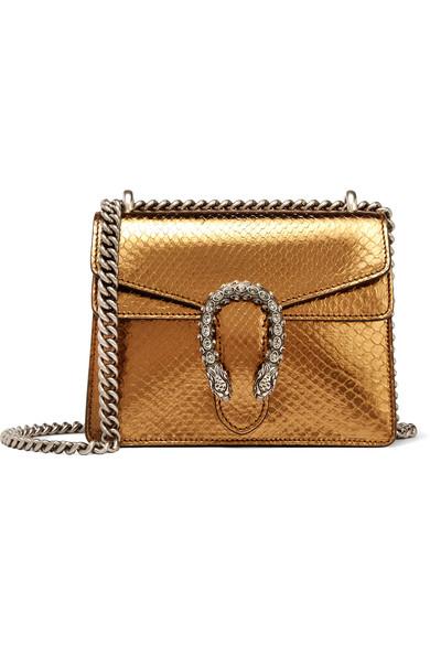 Gucci - Dionysus Mini Metallic Python Shoulder Bag - Gold