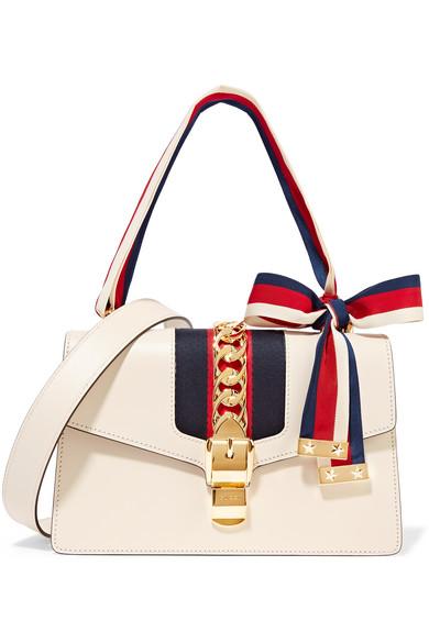 Gucci - Sylvie Medium Canvas-paneled Leather Shoulder Bag - Ivory