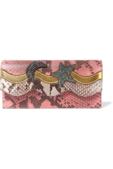Gucci - Broadway Crystal-embellished Metallic Leather And Python Clutch - Pink