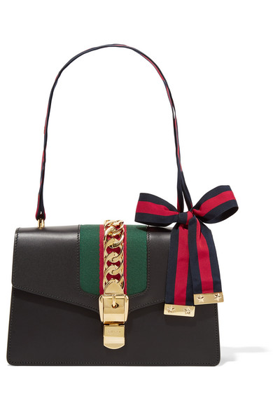 Gucci - Sylvie Medium Canvas-paneled Leather Shoulder Bag - Black
