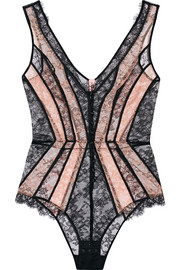 Agent Provocateur Saffi paneled stretch-Leavers lace bodysuit