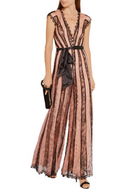 Saffi paneled stretch-Leavers lace jumpsuit