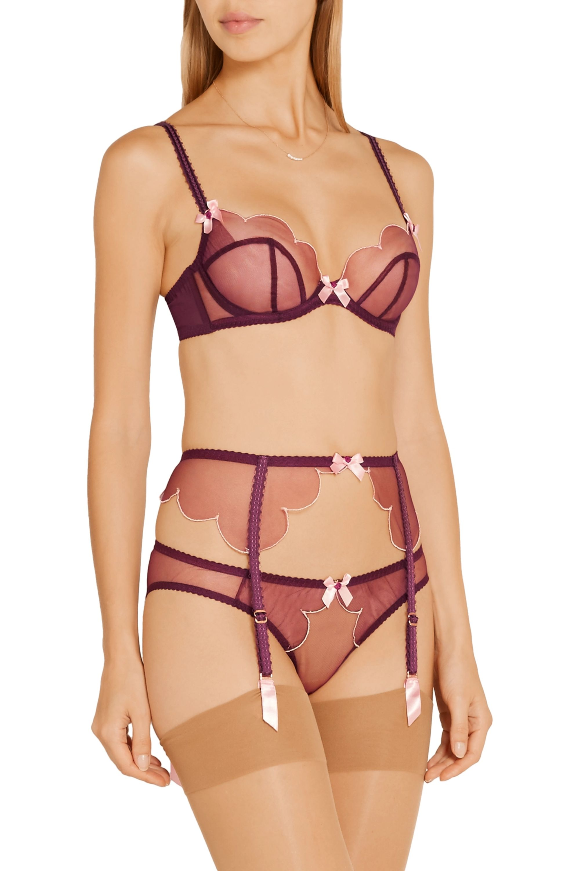 Agent Provocateur Lorna scalloped embroidered tulle underwired bra
