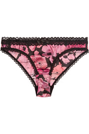 June lace-trimmed floral-print stretch-silk briefs
