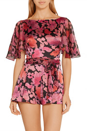 June printed silk chiffon-trimmed stretch-silk playsuit