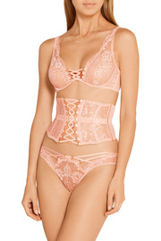 Agent Provocateur Essie satin-trimmed stretch-Leavers lace and tulle plunge bra