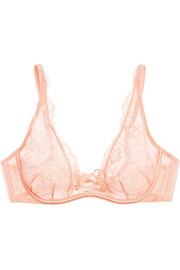 Essie satin-trimmed stretch-Leavers lace and tulle plunge bra