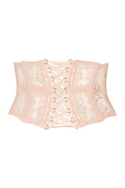 Agent Provocateur Essie satin-trimmed stretch-Leavers lace and tulle waspie