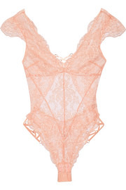 Agent Provocateur Essie satin-trimmed stretch-Leavers lace bodysuit