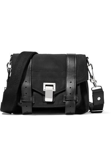 proenza schouler female proenza schouler the ps1 leathertrimmed canvas shoulder bag black