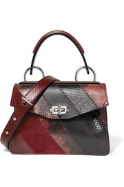 Hava small patchwork leather, suede and watersnake tote