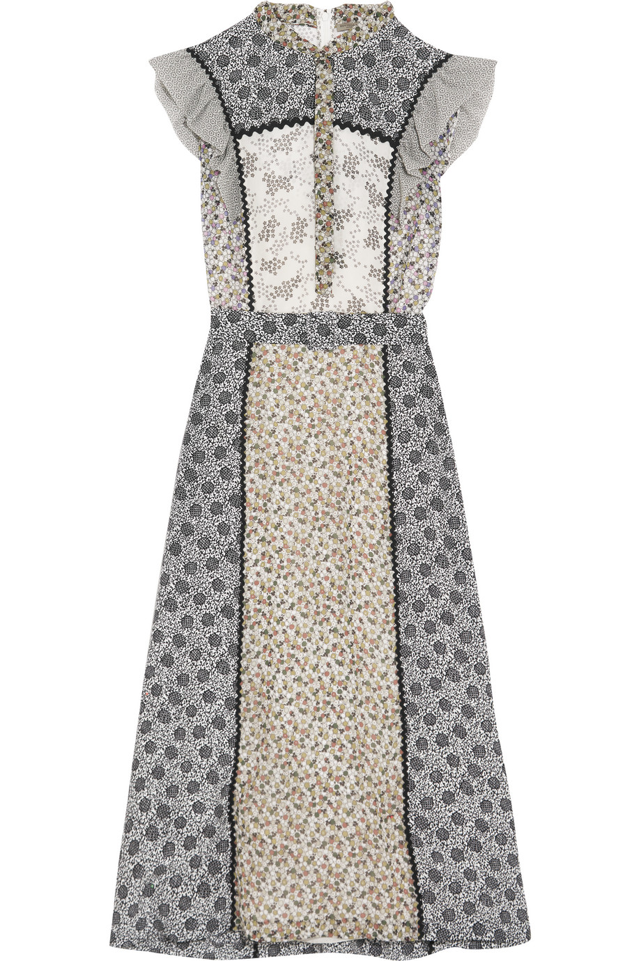 Bottega Veneta Ruffled Floral-Print Silk Midi Dress, Sky Blue/Gray, Women's - Floral, Size: 44