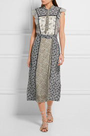 Bottega Veneta Ruffled floral-print silk midi dress