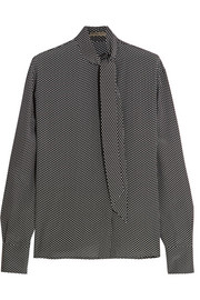 Bottega Veneta Pussy-bow printed silk crepe de chine blouse