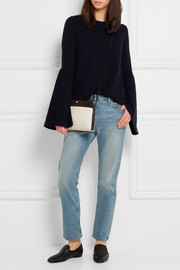 The Row Suede-trimmed canvas shoulder bag
