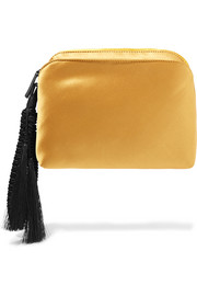 Wristlet tasseled silk-satin clutch