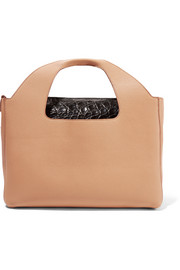 The Row Two For One 12 glossed crocodile-trimmed textured-leather tote