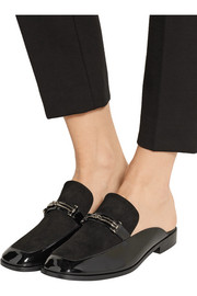 NewbarK Melanie suede and patent-leather slippers