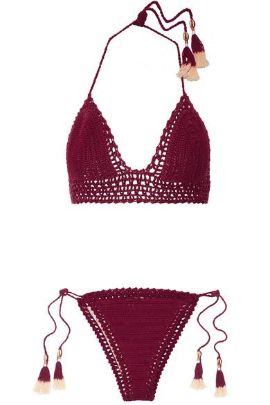 She Made Me - Crocheted Cotton Bikini - Claret
