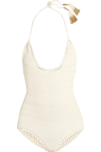 She Made Me - Laharia Crocheted Cotton Swimsuit - Off-white