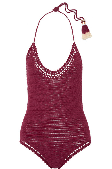She Made Me - Essential Crocheted Cotton Swimsuit - Claret