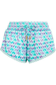 Paloma crochet-trimmed printed silk-satin shorts