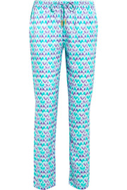 Venice printed silk-satin slim-leg pants