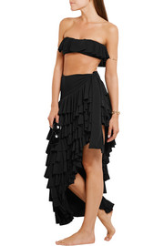 Rhumba asymmetric tiered ruffled jersey skirt