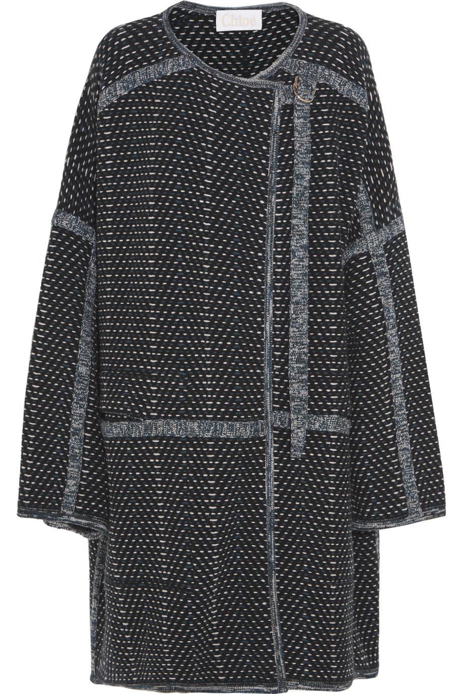 Chloé Oversized Wool and Cashmere-Blend Bouclé Coat, Navy, Women's, Size: 42