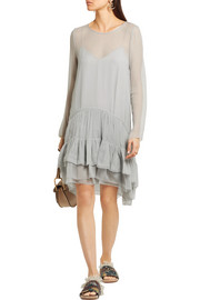Tiered ruffled silk-mousseline dress