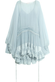 Ruffled silk-mousseline dress