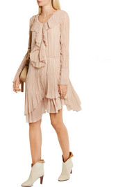 Ruffled crinkled silk-georgette dress