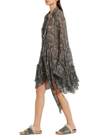 Ruffled printed silk-crepon dress