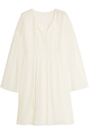Cotton and silk-blend crepon mini dress
