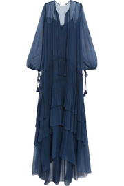 Chloé Tiered plissé silk-mousseline maxi dress