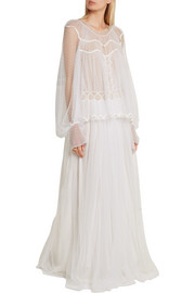 Chloé Layered cotton-blend lace gown