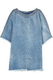 Frayed denim mini dress