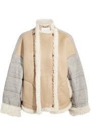 Oversized shearling and quilted cotton-jersey jacket