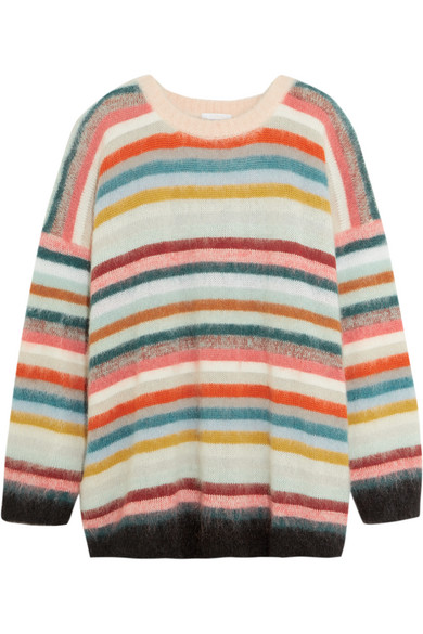 Chloé - Oversized Striped Knitted Sweater - Pink