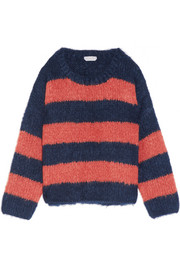 Oversized striped mohair, wool and cashmere-blend sweater